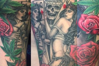 King Skeleton with Weed, Roses, Woman
