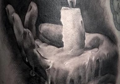Candle Melting In Hand, Eye