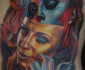 Lady with Mask Portrait Art