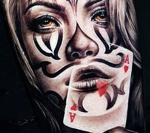 Woman Clown with Playing Card Blended In, Portrait Art