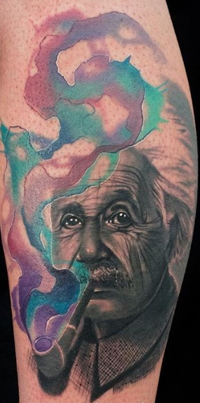 Albert Einstein with Watercolor Design, Albert Einstein, Portrait